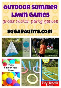 Looking for some fun outdoor lawn games for a summer party? Look no further. We put together a list from some of the most creative bloggers out there! #grossmotor #outdoorgames #summer #kids #The Sugar Aunts