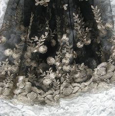 black lace fabric with gold embroidered flowers by WeddingbySophie, $25.00