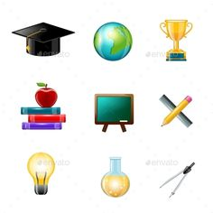 Education Icons - Objects Vectors