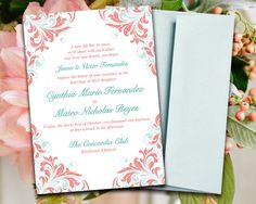 """DIY Wedding Invitation Template Mint Blue Coral Peach """"Maggie"""" 5x7 Printable Word Template Wedding Download Shabby Chic Wedding Invitation by PaintTheDayDesigns on Etsy https://www.etsy.com/listing/203784802/diy-wedding-invitation-template-mint"""