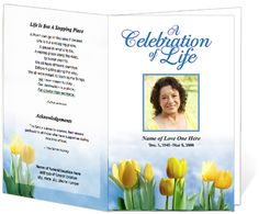 Funeral Program Examples: Spring Tulips Inspire Single Fold Memorial Service Program Templates