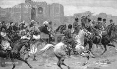 Abdor Rahman Khan (1844-1901) grandson of Dost Mohammad Khan the founder of Barakzai dynasty. Ruler of Afghanistan 1880-1901. 'Abdor Rahman returning to the Erg Palace after a shooting expedition in the Bala Hirsa marsh. Wood engraving 1893
