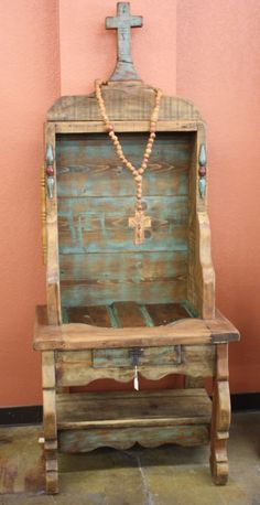 Rustic And Unique Cabinet With A Wood Carved Cross