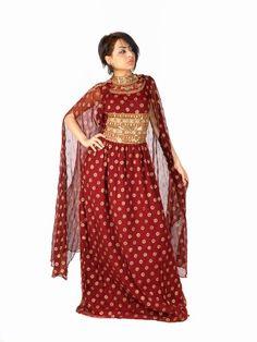 Aljalabiya.com: Chiffon Jalabiya with hand embroidery on chest, $166.00