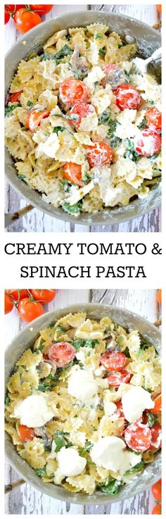 A super cheesy better-for-you pasta made with fresh cherry tomatoes, baby spinach, ricotta cheese, and light whipped cream cheese!
