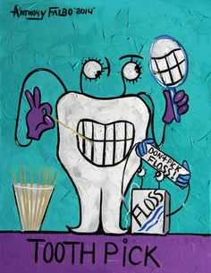 Tooth Pick Dental Art Print Teeth Tooth Dentist cubestraction Anthony Falbo on Etsy, $49.00