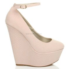 WOMENS LADIES HIGH HEEL WEDGE PLATFORM FULL TOE ANKLE STRAP SHOES SIZE