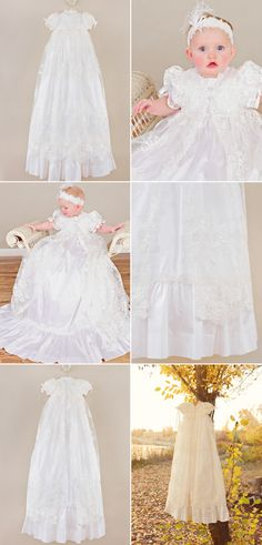 The Sophi gown is part of our Regal line, featuring luxurious dupioni silk undergown and a delicate lace netting overskirt. No detail is spared in this profoundly regal silk & lace christening… Christening Gowns For Girls, Girls Baptism Dress, Blessing Dress, Cotton Slip, Lace Jacket, Lace Headbands, Beaded Lace, Ribbon Bows, Beautiful Gowns