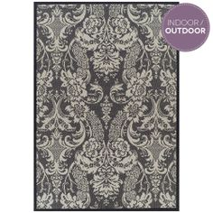 Grey Damask Heritage State Outdoor Rug - T&W Rug Collection - T&W Rug Collection