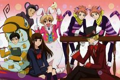Haruhi in wonderland O.O Mori as a big purple mouse...huh. Even more surprising than seeing Kyoya in a giant catarpillar outfit.