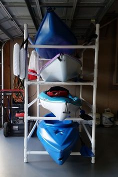 Homemade Pvc Kayak Rack Can Store 4 Kayaks Paddles