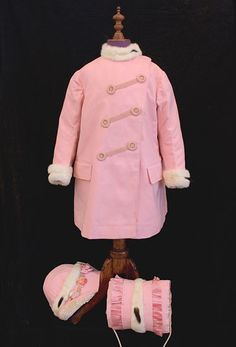 Child's wool coat, bonnet and muff trimmed with ermine, c.1910, from the Vintage Textile archives.