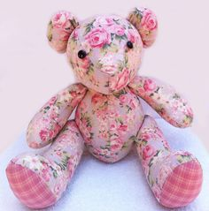 Fabric Bear Doll  Hand Sawn Teddy Bear Baby Toy Quilted by ThePaw, $69.85