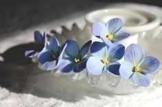 Something Blue Blue Hydrangea Hair Pins Set of Six by PetalByPetal, $30.00