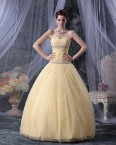 ball gown yellow dress
