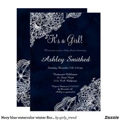 Navy blue watercolor winter floral baby shower card Navy blue watercolor winter floral it's a girl baby shower Celebration. Celebrate and invite with friends to your baby shower with this elegant, modern and winter wonderland baby shower theme featuring hand drawn boho floral lace mandala on a hand painted navy blue watercolor background in white. Perfect for winter celebrations, Christmas and New Year's eve birthdays Text fully customizable.