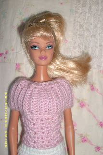 """Crochet for Barbie (the belly button body type): """"Pretty in Pink"""" Sweater"""