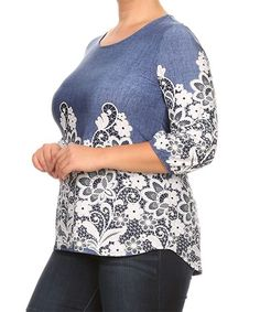 Denim Blue & White Floral High-Low Top - Plus