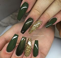 46 Cute Green Nail Art Designs Ideas To Try Although women tend to neglect their nails during the colder months, it is the most important time to take care […] Green Nail Designs, Acrylic Nail Designs, Nail Art Designs, Fall Acrylic Nails, Glitter Nail Art, Acrylic Art, Hot Nails, Hair And Nails, Sexy Nails