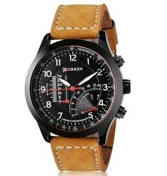 CURREN 8152 Men's Business Quartz Analog Watch with Faux Leather Strap Cool Causual Men Wrist Watch