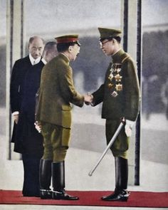 Emperor Hirohito meeting Manchurian Emperor Puyi in Japan 1940. Last Emperor Of China, Tokyo Station, Asian Continent, Asian History, Japanese History, Osaka, Kyoto, Qing Dynasty, Tianjin
