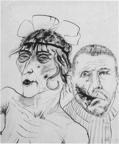 Otto Dix(German, 1891 - 1969)  Whore with War Cripple, 1923