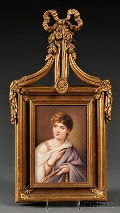KPM porcelain plaque ~ rectangular portrait group ~ Depicting a  Roman Court beauty ~ Very ornate frame Origin Germany ~ Circa 1895-1905