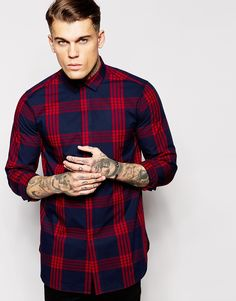 ASOS+Check+Shirt+In+Long+Sleeve+With+Large+Check