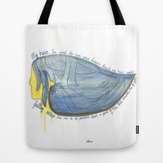 """""""My heair"""" Tote bag. Watercolor illustration of a girl thinking of a love that is gone."""