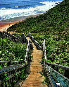 Mohegan Bluffs, Block Island, RI- large clay cliffs about 150 feet high, located on the southern shore of Block Island I'm pinning this here because frankly it looks like a huge workout. Can you imagine running those steps and then surfing?