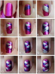 DIY Pink Braided DIY Nails Art