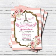 quinceaera invitation pink white glitter gold paris theme quinceaera invitation eiffel tower french theme