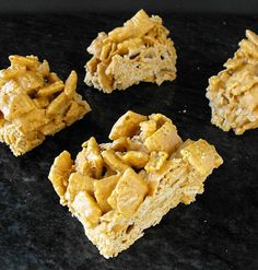 Butterscotch No Bake Cereal Bars - 1pkg butterscotch chips, 1c peanut butter, 6c unsweetened cereal (rice chex, etc).