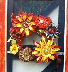 Items similar to flowers and owls and ladybugs wreath on Etsy Tin Can Art, Soda Can Art, Tin Art, Soda Can Flowers, Tin Flowers, Wire Crafts, Metal Crafts, Diy And Crafts, Recycled Art Projects