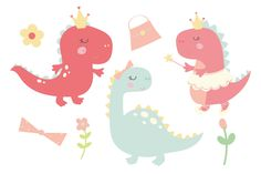 A very cute girl dinosaur set, created in a sweet pastel colour palette. sweet dinosaurs, princess dino, ballerina dino, flowers and other cute Dinosaur Illustration, Illustration Girl, All Dinosaurs, Girl Dinosaur, Baby Dino, Pastel Colour Palette, Cute Clipart, Dinosaur Birthday Party, Elements Of Art