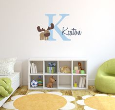 Children Wall Decal Baby Name Monogram Vinyl  by LittleMooseDecals