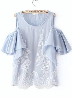 Blue Off the Shoulder Ruffle Lace Blouse