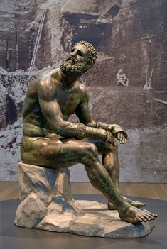 "Seated Boxer, ""The Terme Boxer"" (detail), 300-200 B.C., bronze and copper. Museo Nazionale Romano—Palazzo Massimo alle Terme, Rome"