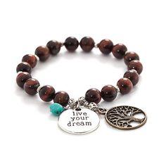 tigers eye bracelet - live your dream