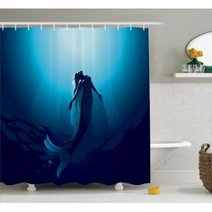 Mermaid Decor Shower Curtain Set, Mermaid In Deep Water Swimming Up To The Surface Sunlight Rays, Bathroom Accessories, 69W X 70L Inches, By Ambesonne