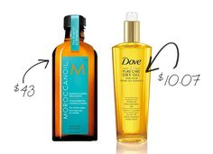 13 Drugstore Steals to Replace High-End Beauty Products: Try: Dove Pure Care Dry Oil Nourishing Treatment $10.07 Moroccanoil Treatment $43