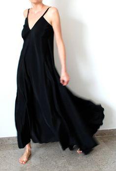 Black maxi dress. Party, bridesmaid, wedding dress, bridal, prom. One size fits many. $135.00, via Etsy.