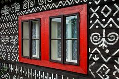 Window design in Cicmany, Slovakia European Windows, Window Styles, Off The Wall, Window Design, Windows And Doors, Murals, Red And White, Home Goods, Blues