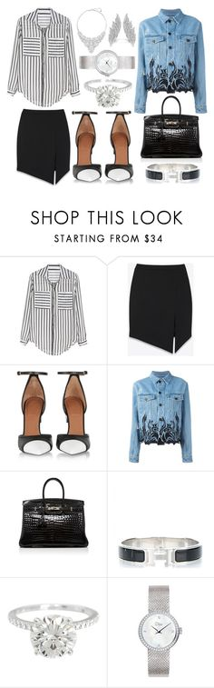 """""""Urban classic twist"""" by lucya-knight ❤ liked on Polyvore featuring Yves Saint Laurent, Givenchy, Filles à papa, Hermès, Dior Timepieces and Swarovski"""