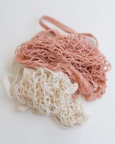 minimal eco mesh bag | tote bag | reusable shopping bag | zero waste living | Creme and Pink