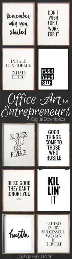 Motivational Wall Art for Entrepreneurs. Office gallery wall art. Inspirational quotes to help you stay positive and motivated! Read everyday to remind yourself! #printable #artwork #ad #gallery wall #etsyseller