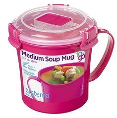 Sistema To Go Collection Microwave Soup Mug, 22 oz, Pink #Sistema