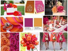 Inspiration Board: Hot Pink & Orange Crush : PANTONE WEDDING Styleboard : The Dessy Group