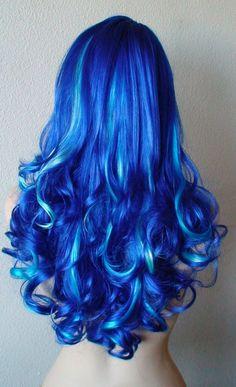 Blue wig. Blue hair with highlights wig. Ocean blue by kekeshop, $79.50