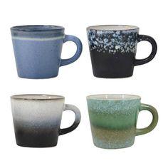 HK-Living Cappuccino tazas de cerámica set de 4
